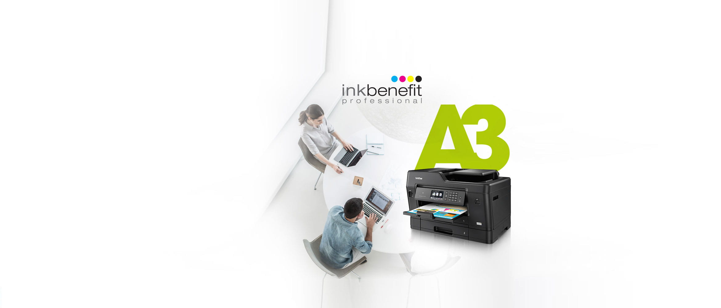 Brother InkBenefit Professional image with people and A3 printer