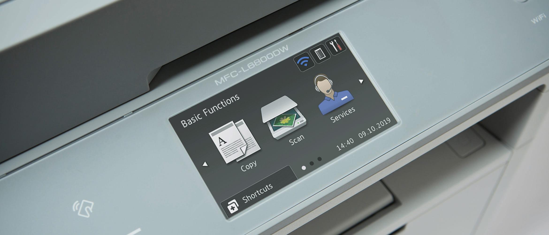 Trzy ikony na ekranie dotykowym modelu Brother MFC-L6800DW