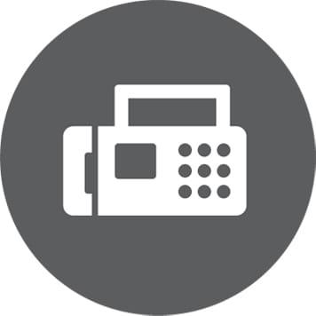 ikonka faksu na szarym okrągłym tle