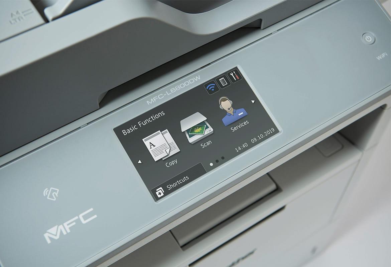 Ekran dotykowy drukarki Brother z trzema ikonkami