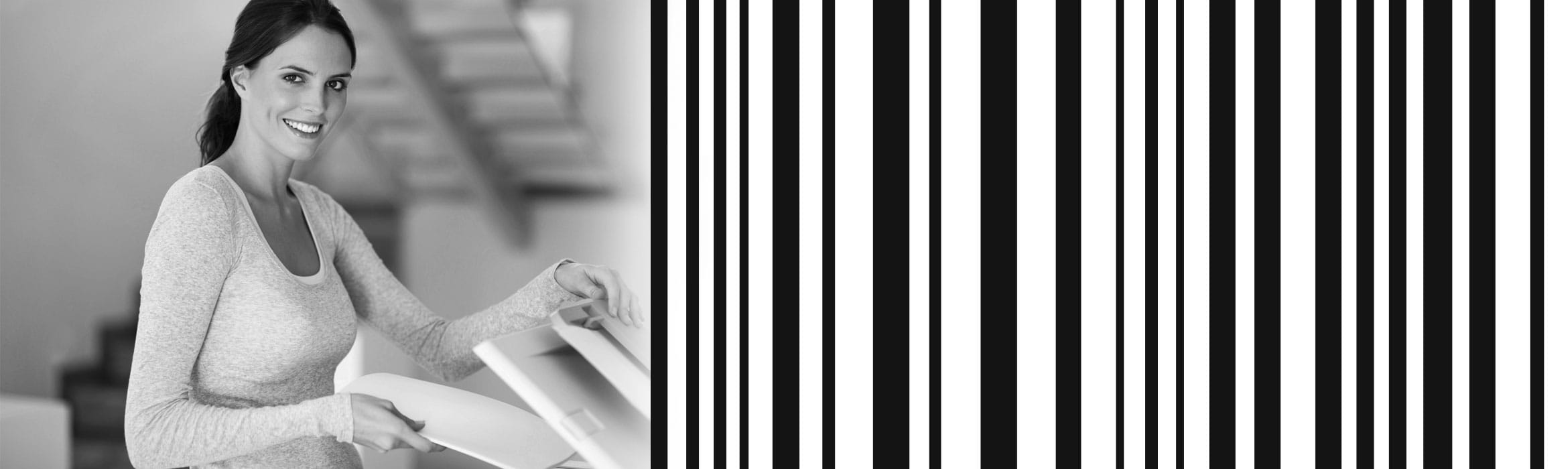 Woman with printer and barcode