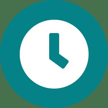 Biała ikonka zegara z na turkusowym tle koła