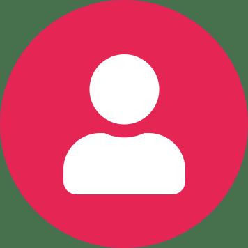 Biała ikona użytkownika na różowym tle w kształcie koła