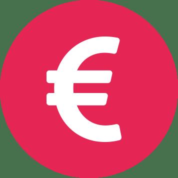 Biały symbol euro na różowym tle w kształcie koła
