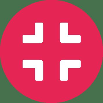 Biała ikona kompresu na różowym tle w kształcie koła