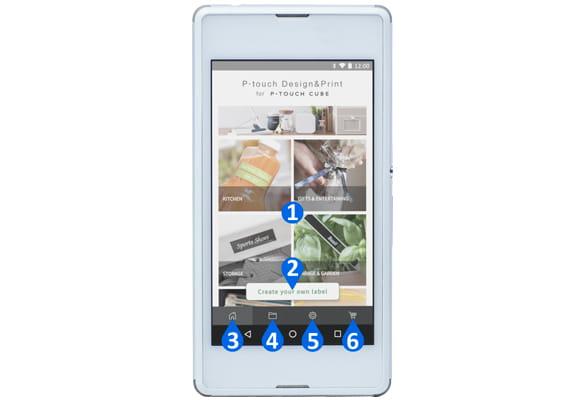 Smartfon oparty o system operacyjny Android pokazujący funkcje aplikacji P-touch Design&Print