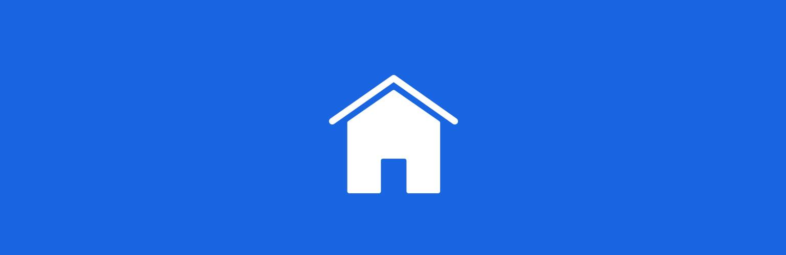 Dom rodzinny biała ikona niebieskie tło