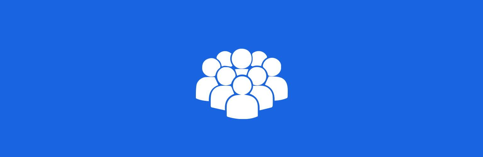 Biała ikona ludzie niebieskie tło