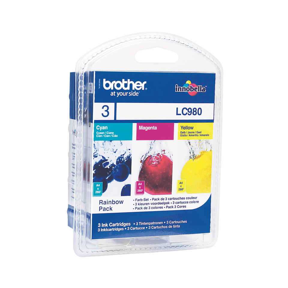 Genuine Brother LC980RBWBP Ink Cartridge Rainbow Blister Pack