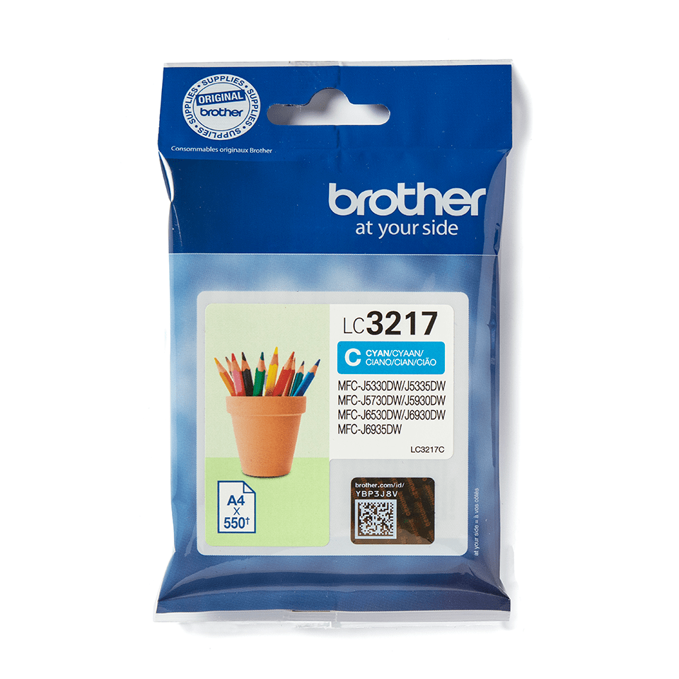 Oryginalny tusz LC3217C firmy Brother w kolorze cyan