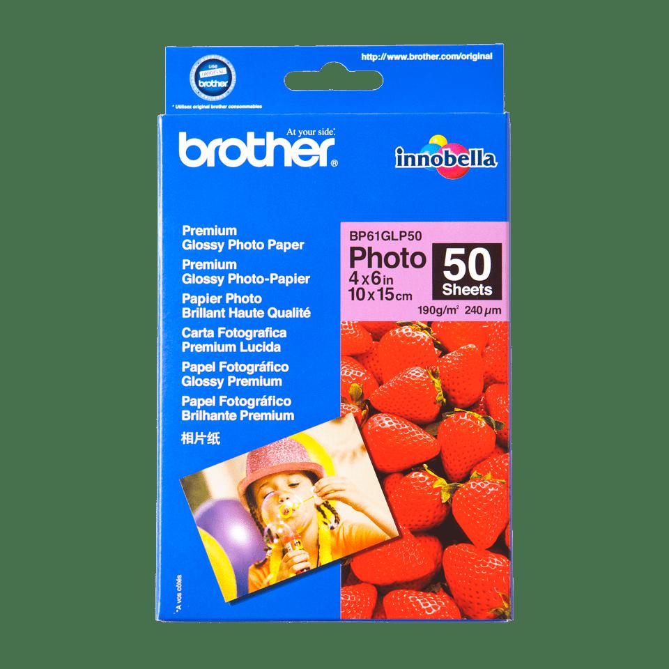 Oryginalny błyszczący papier fotograficzny firmy Brother BP-61GP50 o wymiarach 10 cm x 15 cm