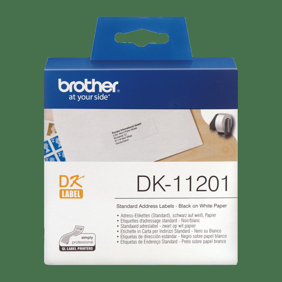 Oryginalne etykiety na rolce firmy Brother DK-11201 - czarna czcionka na białym tle, 29mm x 90mm