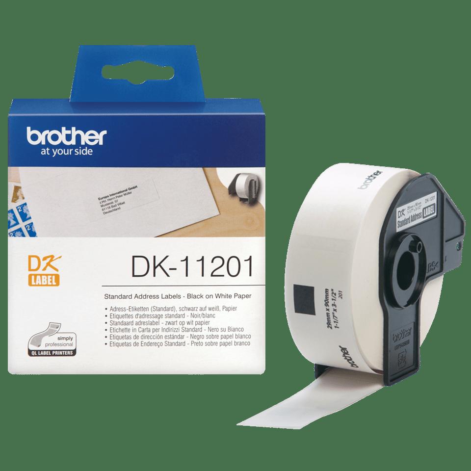 Oryginalne etykiety na rolce firmy Brother DK-11201 - czarna czcionka na białym tle, 29mm x 90mm 3