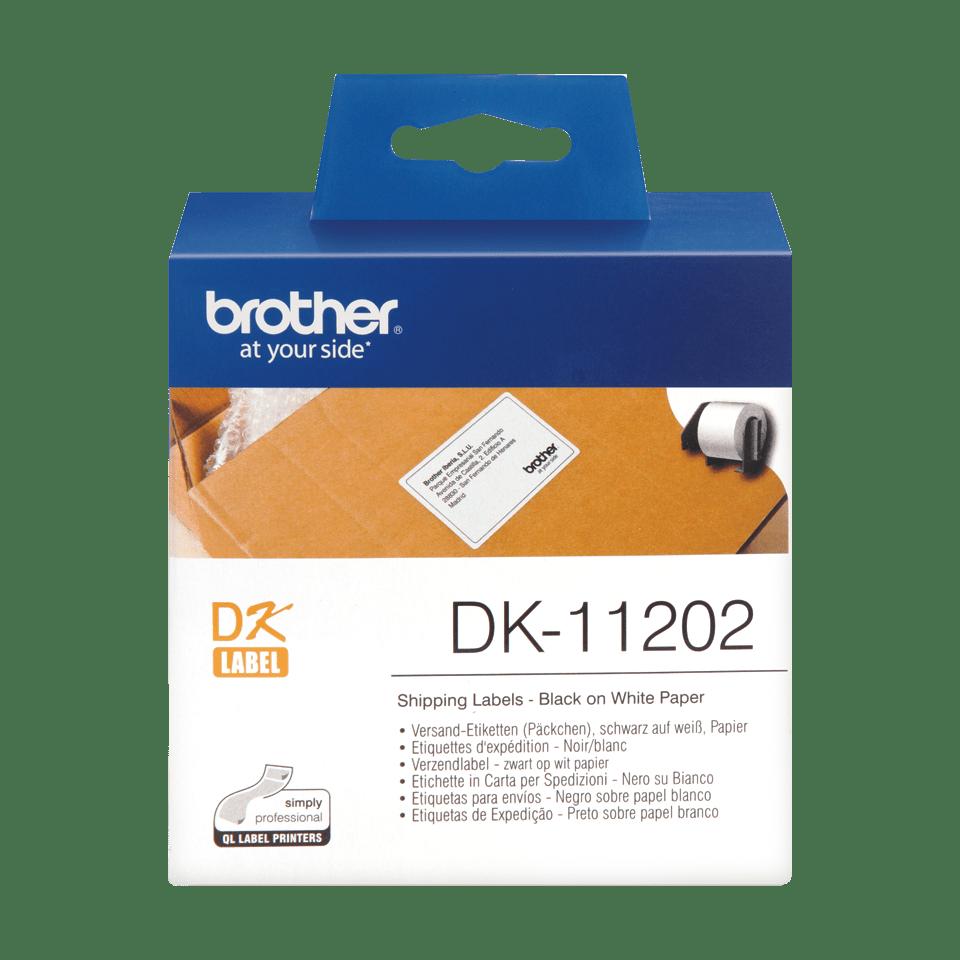 Oryginalne etykiety Brother DK-11202 na rolce – czarny nadruk na białym tle, 62mm x 100mm