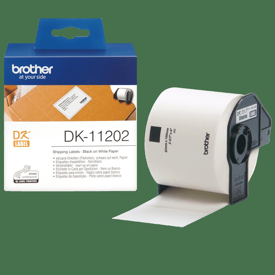Oryginalne etykiety Brother DK-11202 na rolce – czarny nadruk na białym tle, 62mm x 100mm 3