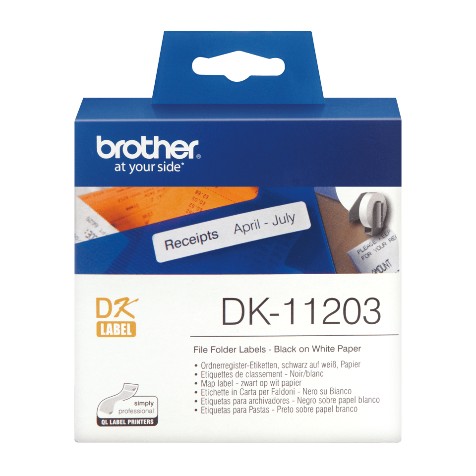 Oryginalne etykiety na rolce firmy Brother DK-11203  – czarny nadruk na białym tle, 17mm x 87mm