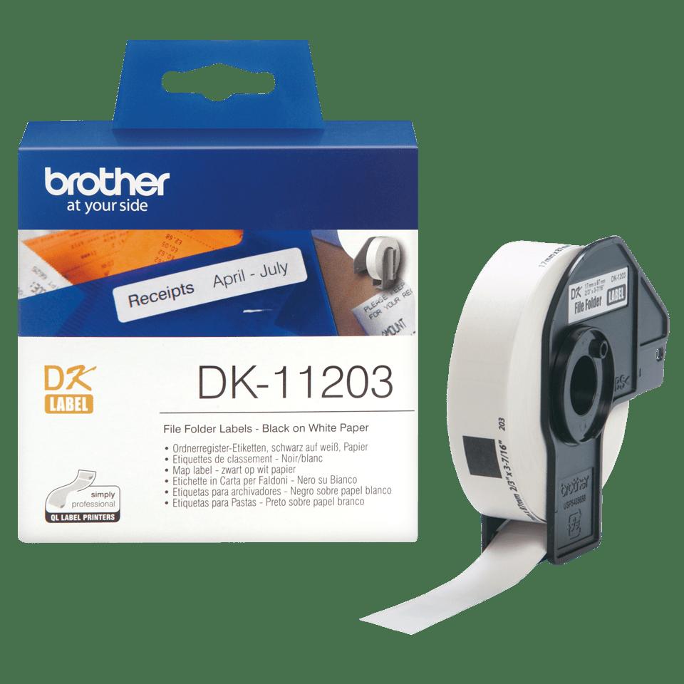 Oryginalne etykiety na rolce firmy Brother DK-11203  – czarny nadruk na białym tle, 17mm x 87mm 3