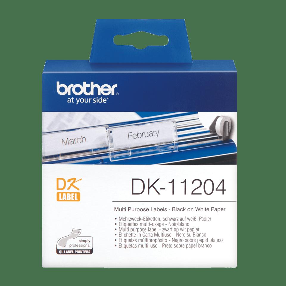 Oryginalne etykiety na rolce firmy Brother DK-11204  – czarny nadruk na białym tle, 17mm x 54mm