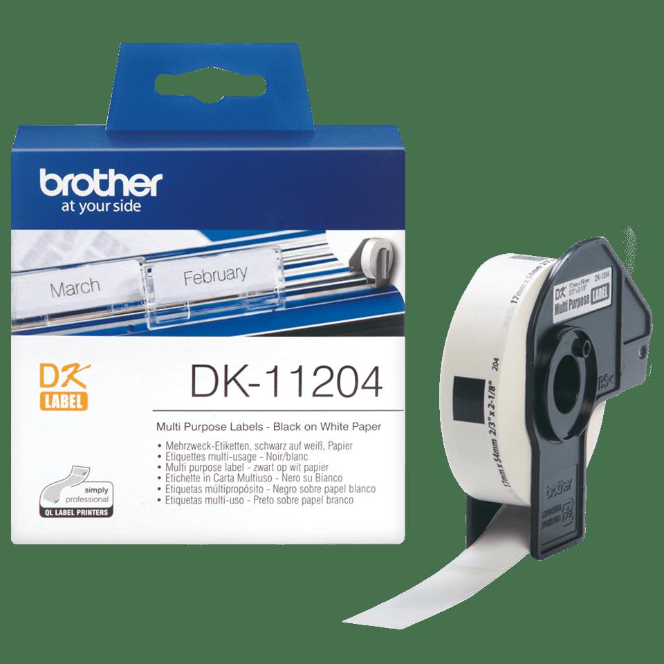 Oryginalne etykiety na rolce firmy Brother DK-11204  – czarny nadruk na białym tle, 17mm x 54mm 3