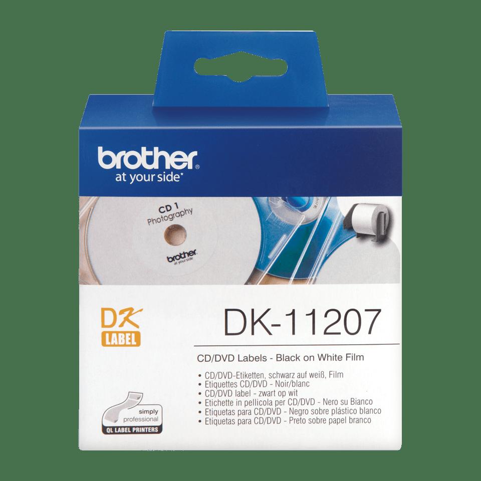 Oryginalne etykiety na rolce do płyt CD/DVD firmy Brother DK-11207  – czarny nadruk na białym tle, 58mm szerokości