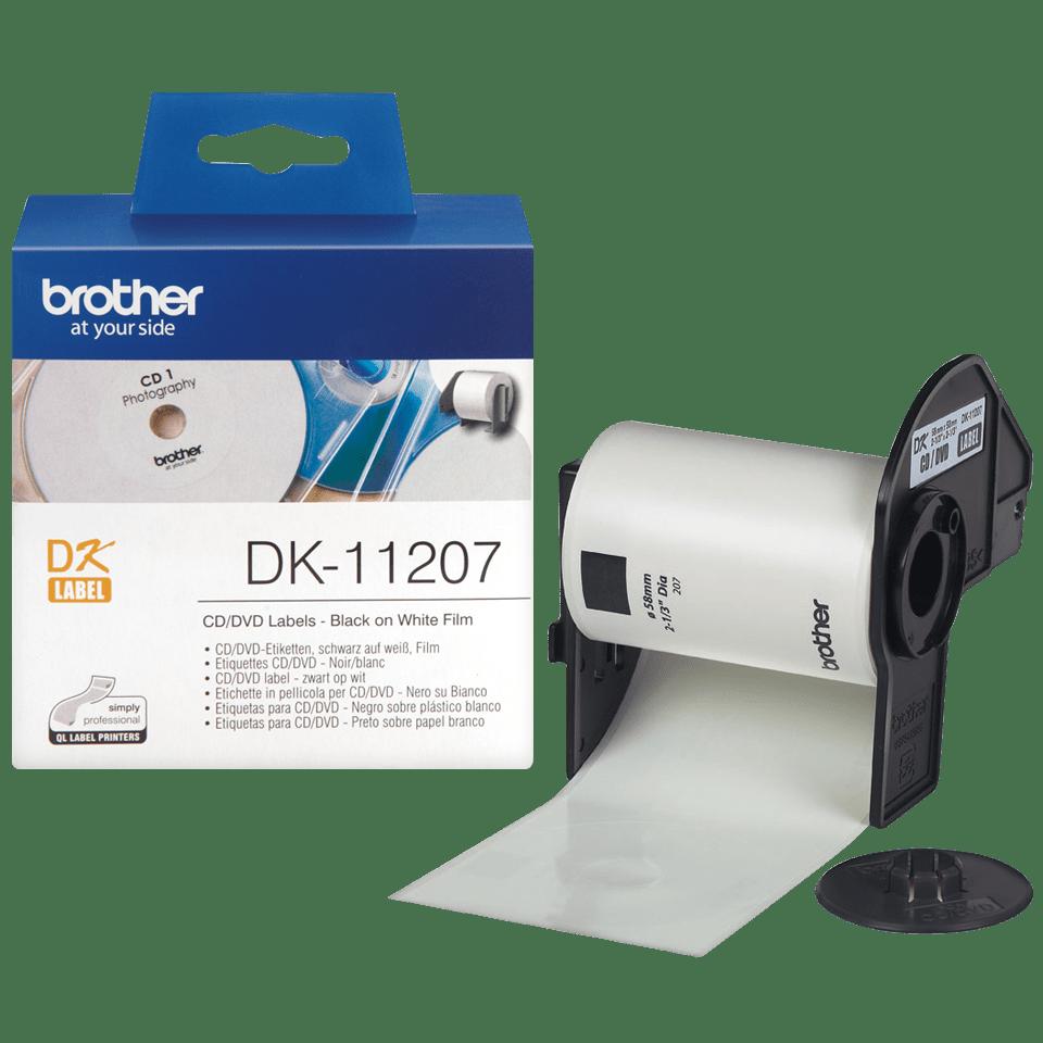 Oryginalne etykiety na rolce do płyt CD/DVD firmy Brother DK-11207  – czarny nadruk na białym tle, 58mm szerokości 3