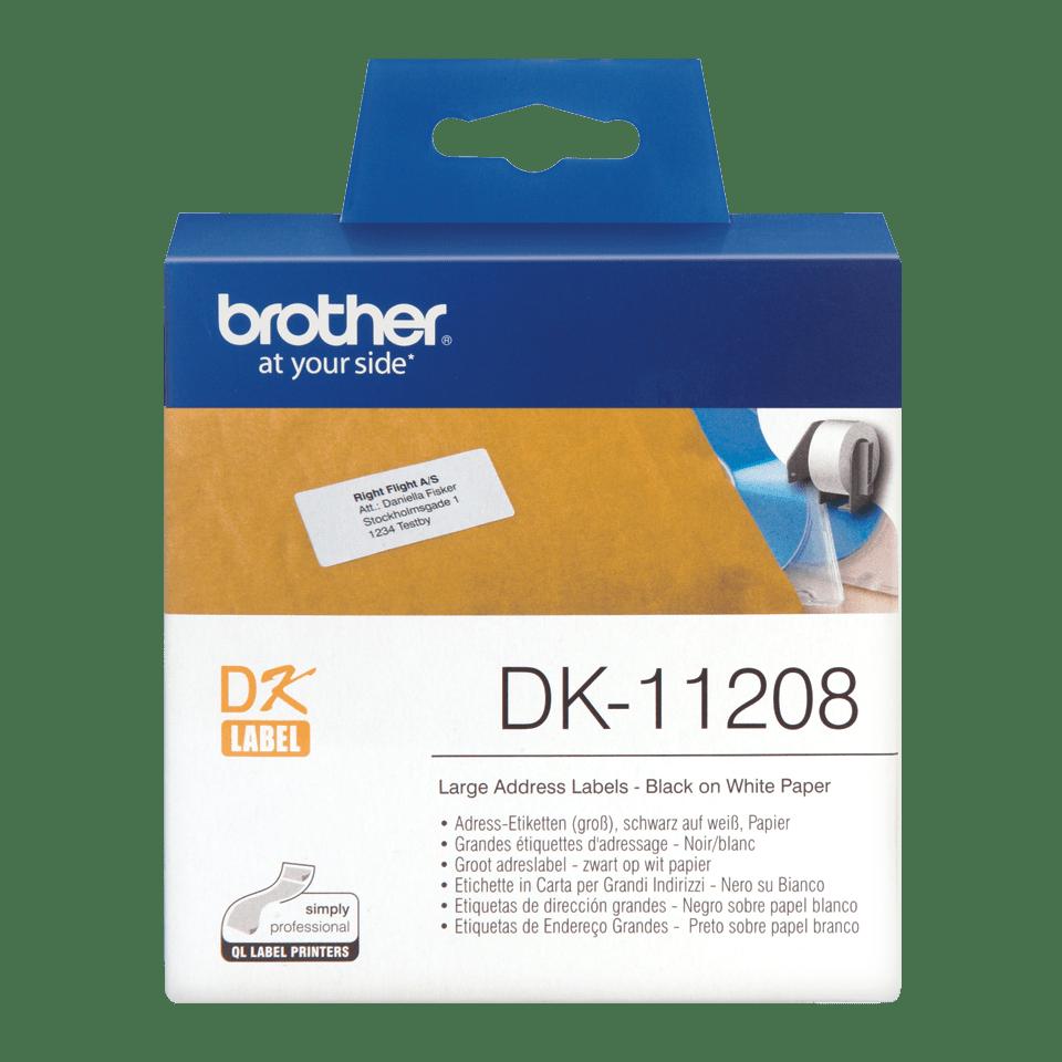 Oryginalne etykiety na rolce firmy Brother DK-11208  – czarny nadruk na białym tle, 38mm x 90mm
