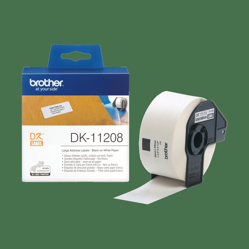 Oryginalne etykiety na rolce firmy Brother DK-11208  – czarny nadruk na białym tle, 38mm x 90mm 3