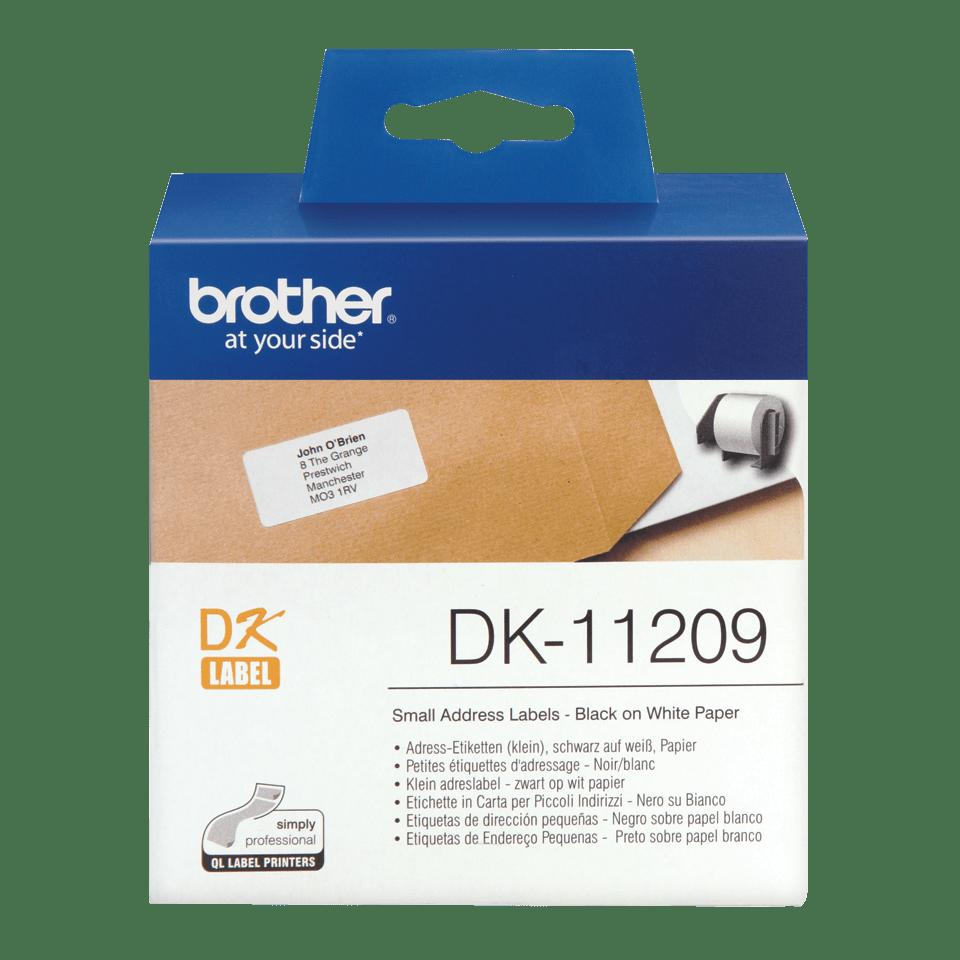 Oryginalne etykiety na rolce firmy Brother DK-11209  (czarny nadruk na białym tle) – 29mm x 62mm