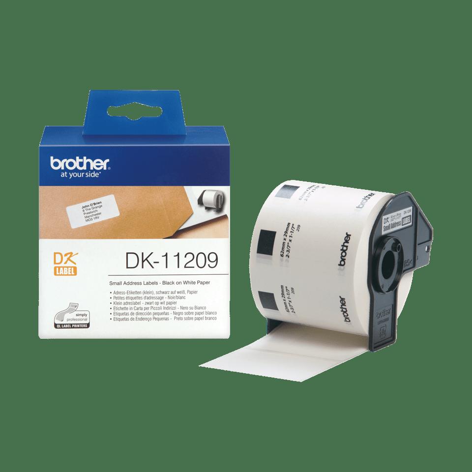 Oryginalne etykiety na rolce firmy Brother DK-11209 - czarny nadruk na białym tle, 29mm x 62mm 3