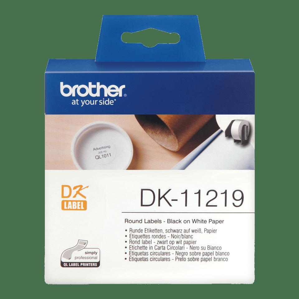 Oryginalne okrągłe etykiety DK-11219 firmy Brother (czarny nadruk na białym tle) o średnicy 12mm