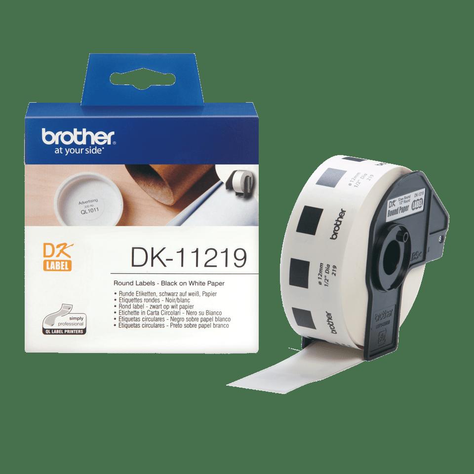 Oryginalne okrągłe etykiety DK-11219 firmy Brother (czarny nadruk na białym tle) o średnicy 12mm 3