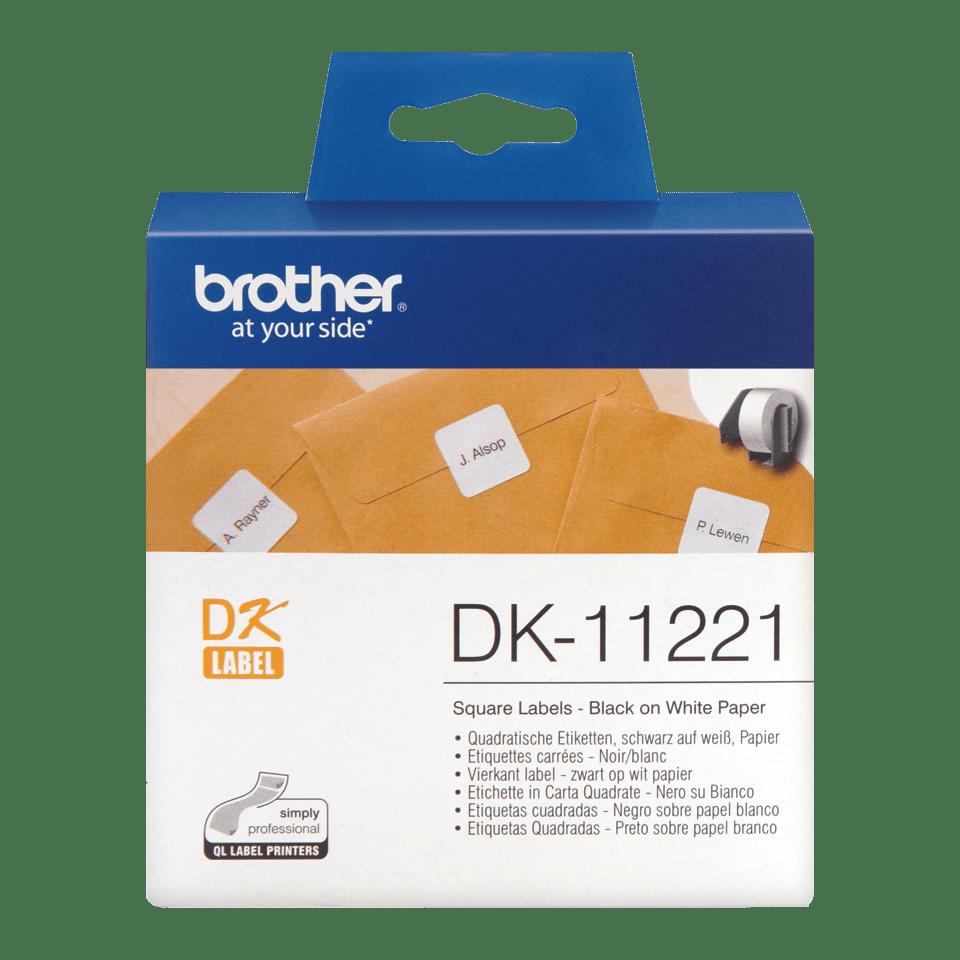 Oryginalne etykiety na rolce firmy Brother DK-11221 (czarny nadruk na białym tle), 23mm x 23mm