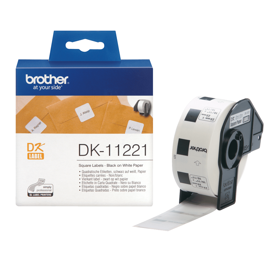 Oryginalne etykiety na rolce firmy Brother DK-11221 (czarny nadruk na białym tle), 23mm x 23mm 3