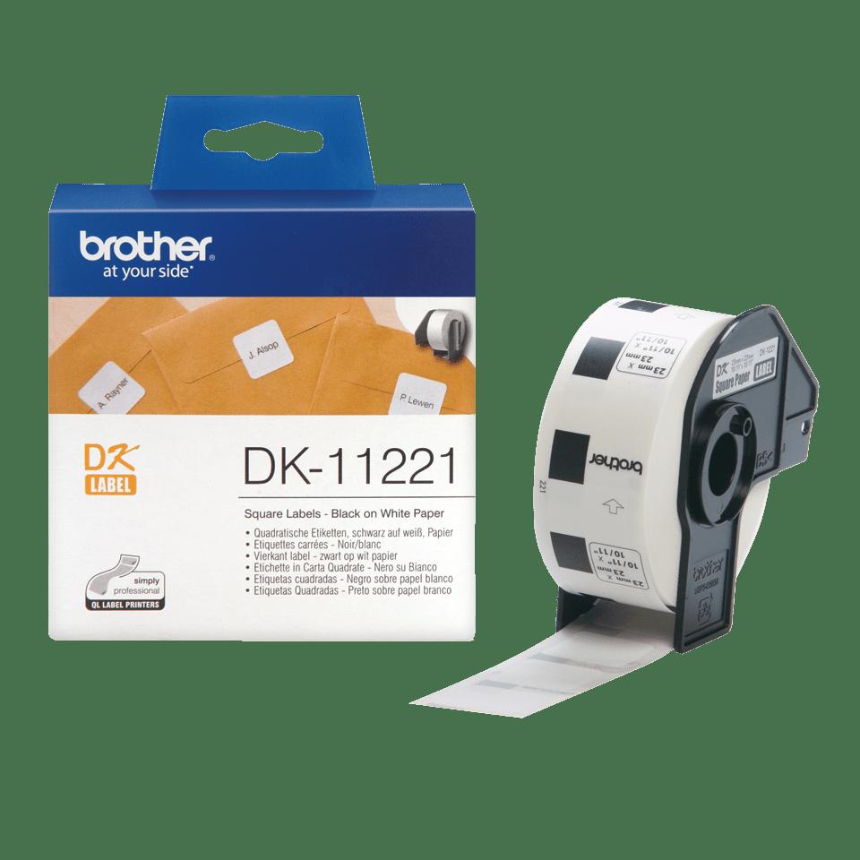 Oryginalne etykiety na rolce firmy Brother DK-11221 - czarny nadruk na białym tle, 23mm x 23mm 3