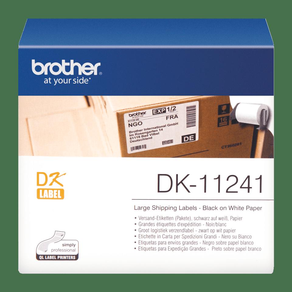 Oryginalne etykiety DK-11241 na rolce – czarny nadruk na białym tle, 102mm x 152mm