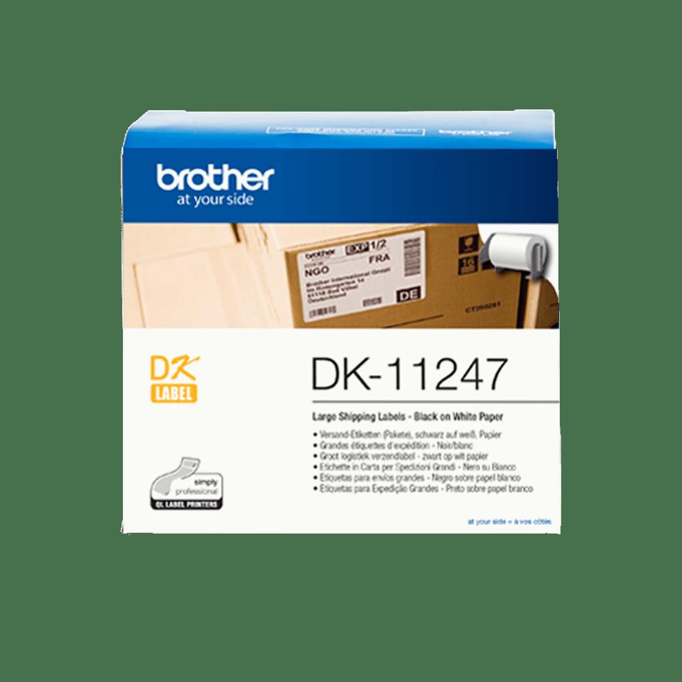 Oryginalne etykiety cięte DK-11247 firmy Brother – czarny nadruk na białym tle, 103mm x 164mm