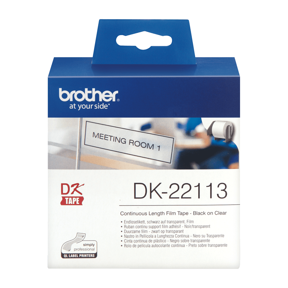 Oryginalna foliowa taśma ciągłe DK-22113 firmy Brother – czarny nadruk na białym tle, 62mm.  2