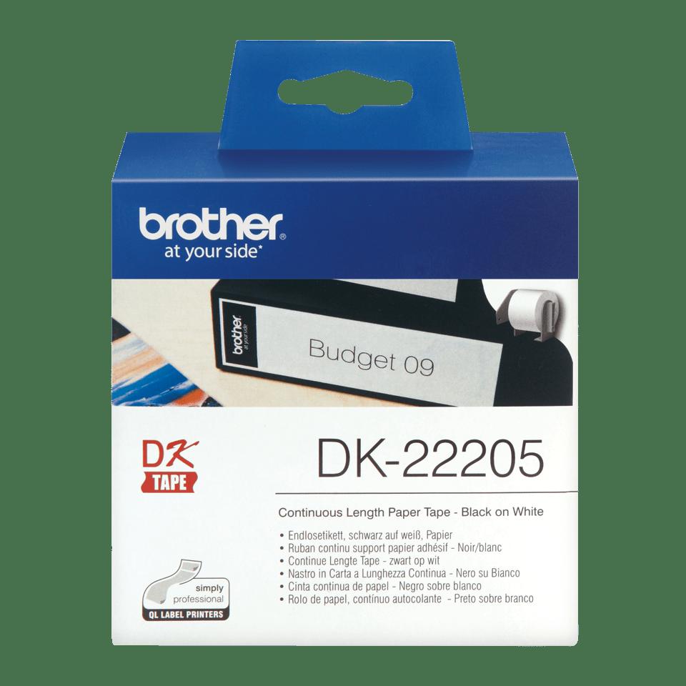 Oryginalna pierowa taśma ciągła DK-22205 firmy Brother - czarny nadruk na białym tle o szerokości 62mm