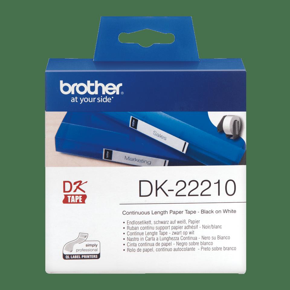Oryginalna taśma DK-22210 firmy Brother, czarny nadruk na białym tle o szerokości 29mm