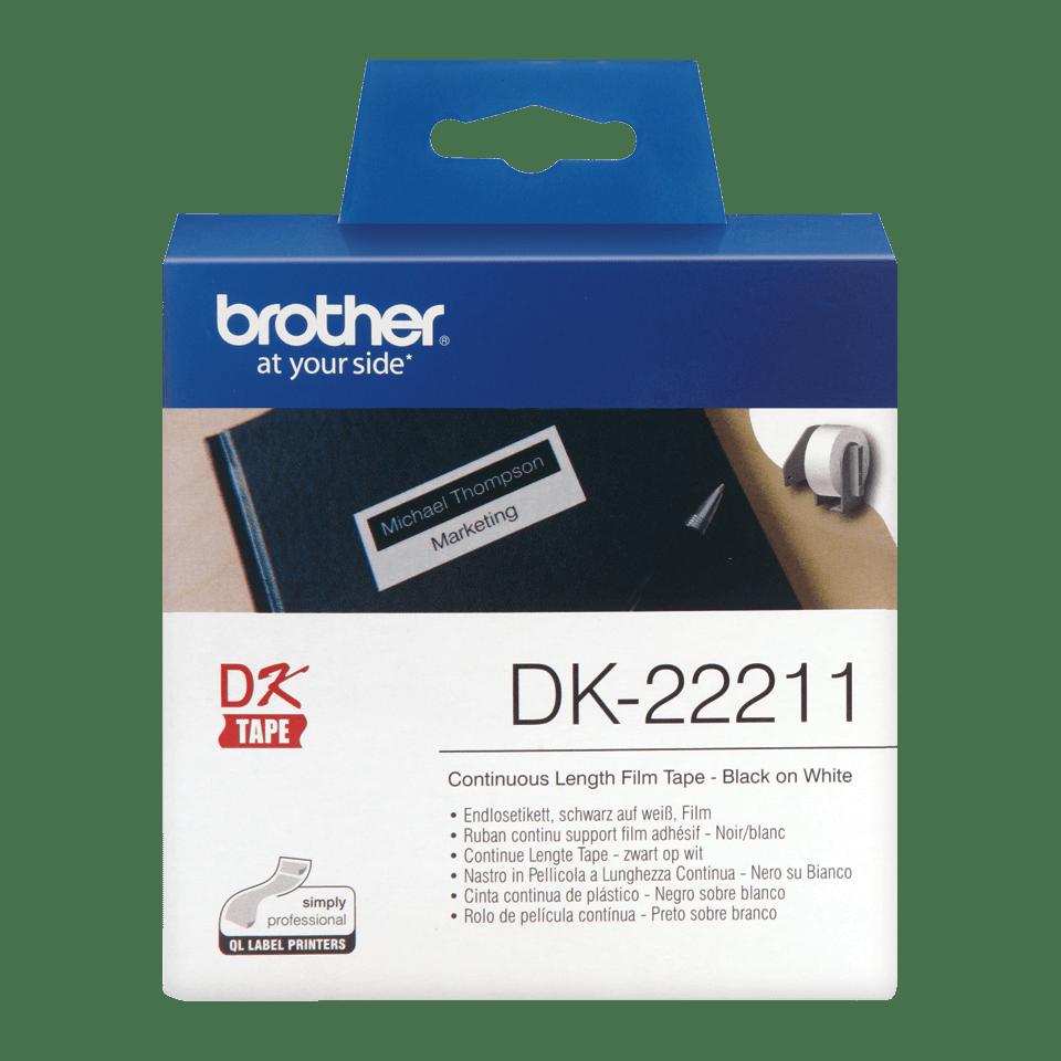 Oryginalna foliowa taśma ciągła DK-22211 firmy Brother – czarny nadruk na białym tle, 29mm.