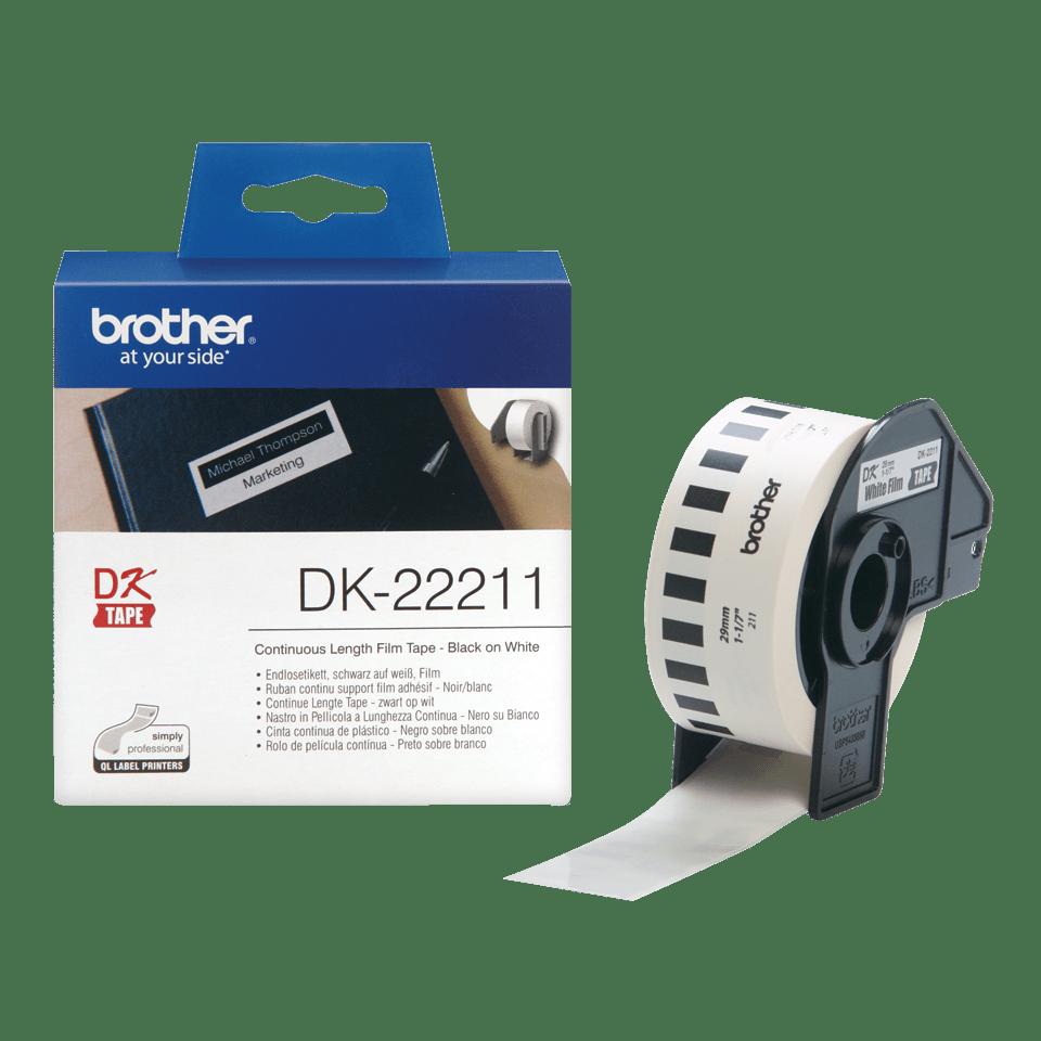 Oryginalna foliowa taśma ciągła DK-22211 firmy Brother – czarny nadruk na białym tle, 29mm. 3