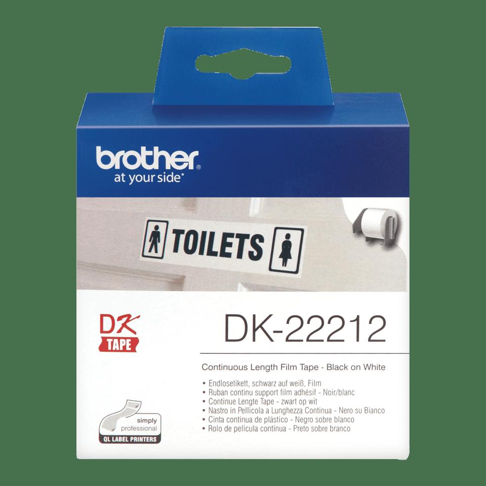 Oryginalna foliowa taśma ciągła DK-22212 firmy Brother – czarny nadruk na białym tle, 62mm