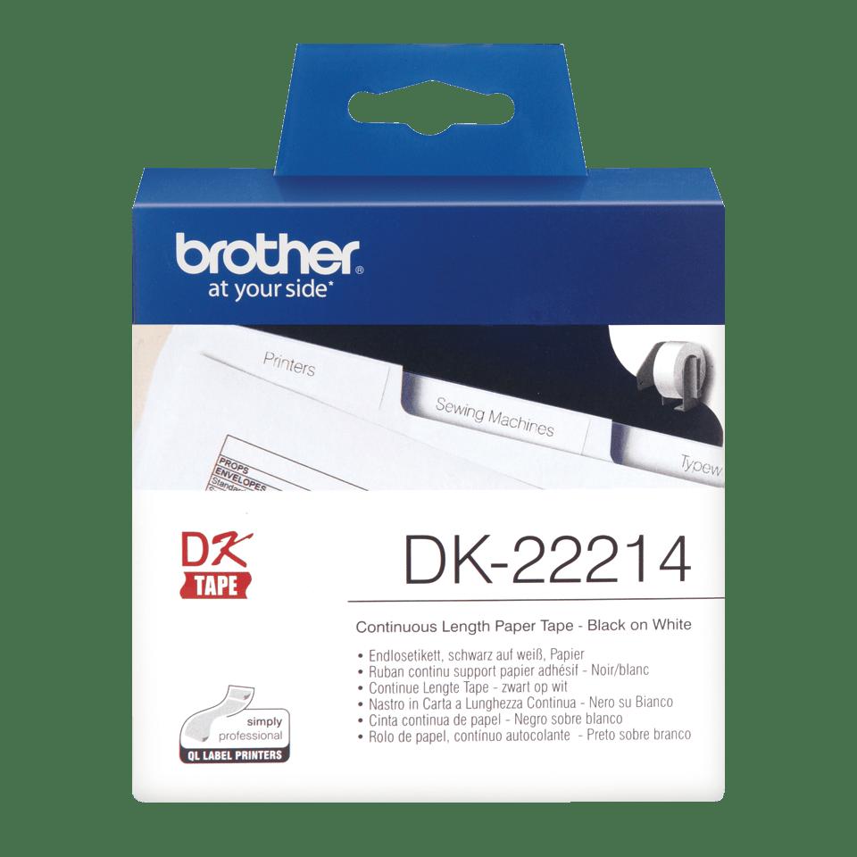 Oryginalna papierowa taśma ciągła DK-22214 - czarny nadruk na białym tle, 12mm szerokości
