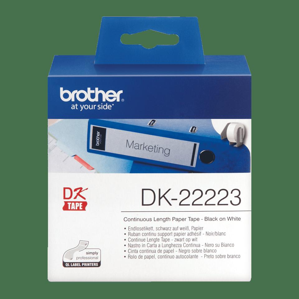 Oryginalna papierowa taśma ciągła DK-22223 firmy Brother na rolcec. Czarny nadruk na białym tle o szerokości 50mm