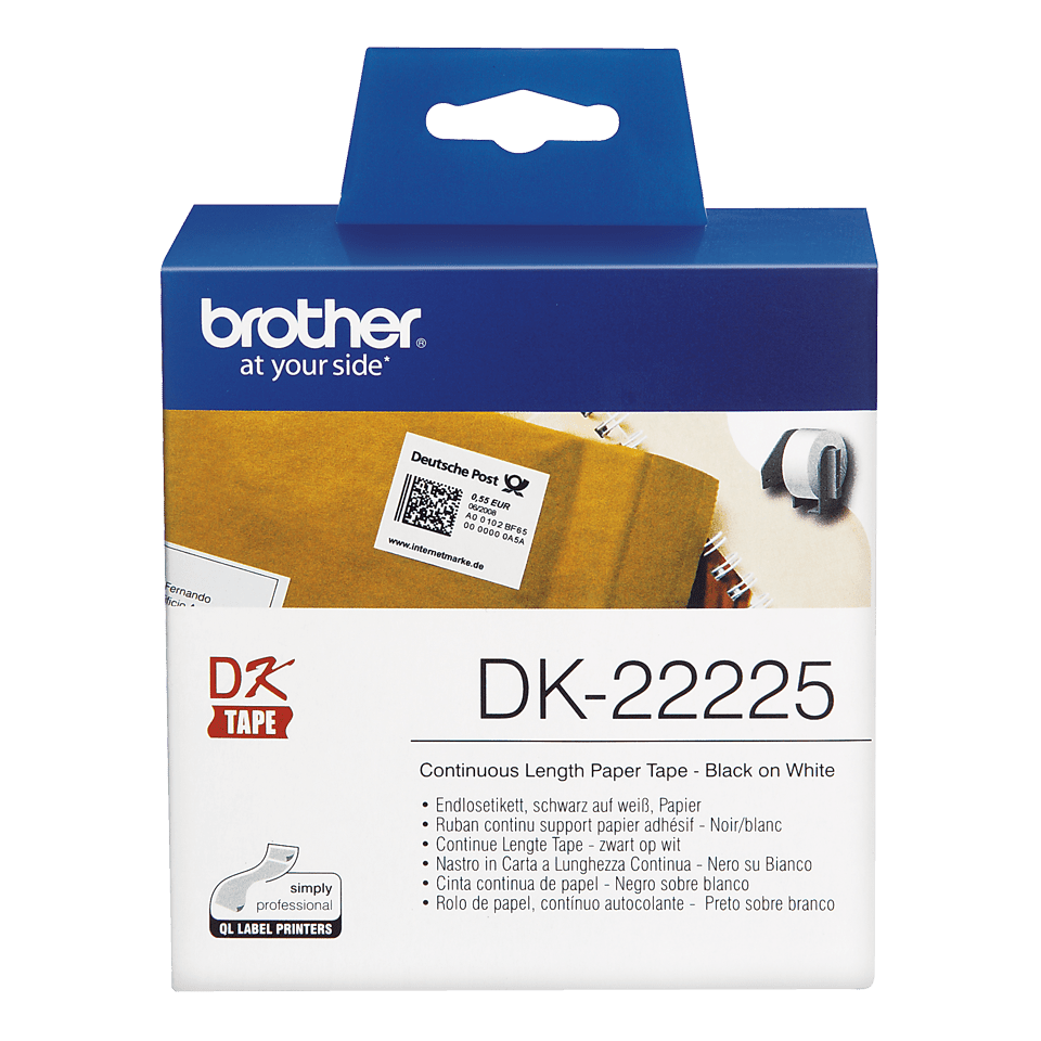 Orygnalna papierowa taśma ciągła DK-22225 firmy Brother. Czarny nadruk na białym tle o szerokości 38mm. 2