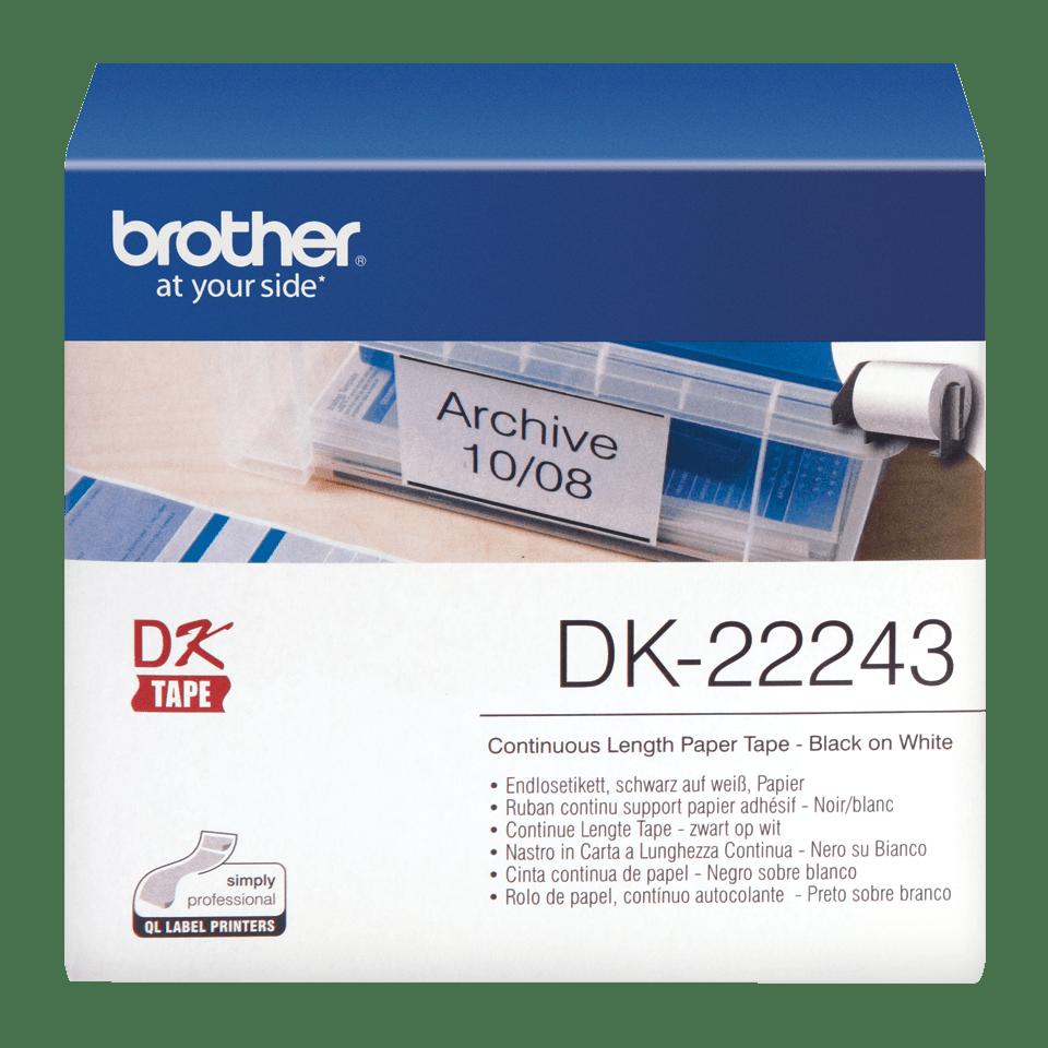 Oryginalna papierowa taśma ciągła DK-22243 firmy Brother – czarny nadruk na białym tle o szerokości 102mm