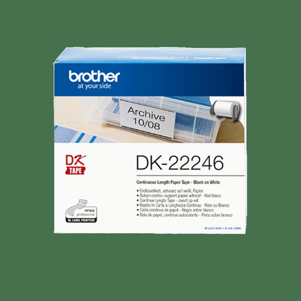 Oryginalne etykiety ciągłe DK-22246 firmy Brother – czarny nadruk na białym tle, 103mm szerokości
