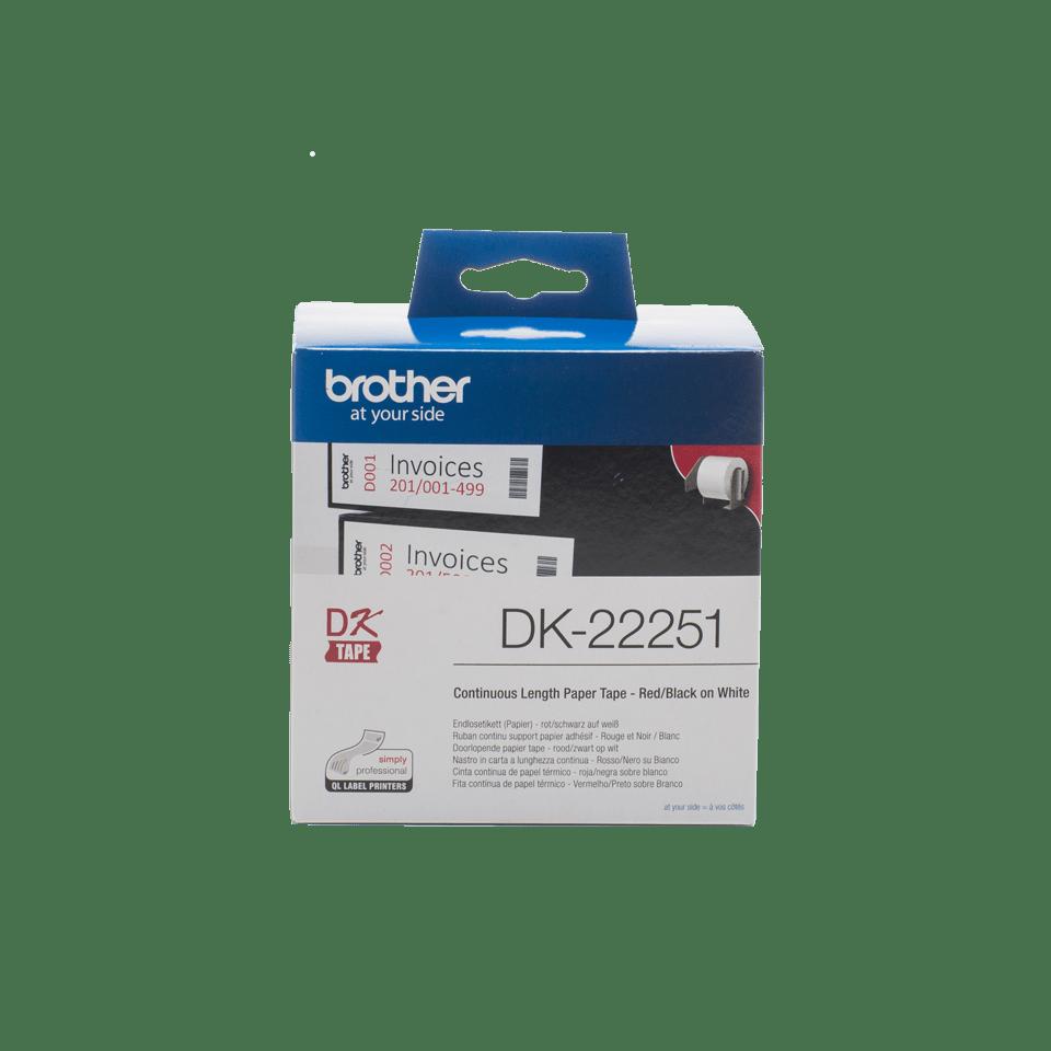Oryginalna papierowa taśma ciągła DK-22251 firmy Brother. Nadruk w czerni i czerwieni na białym tle o szerokości 62mm.
