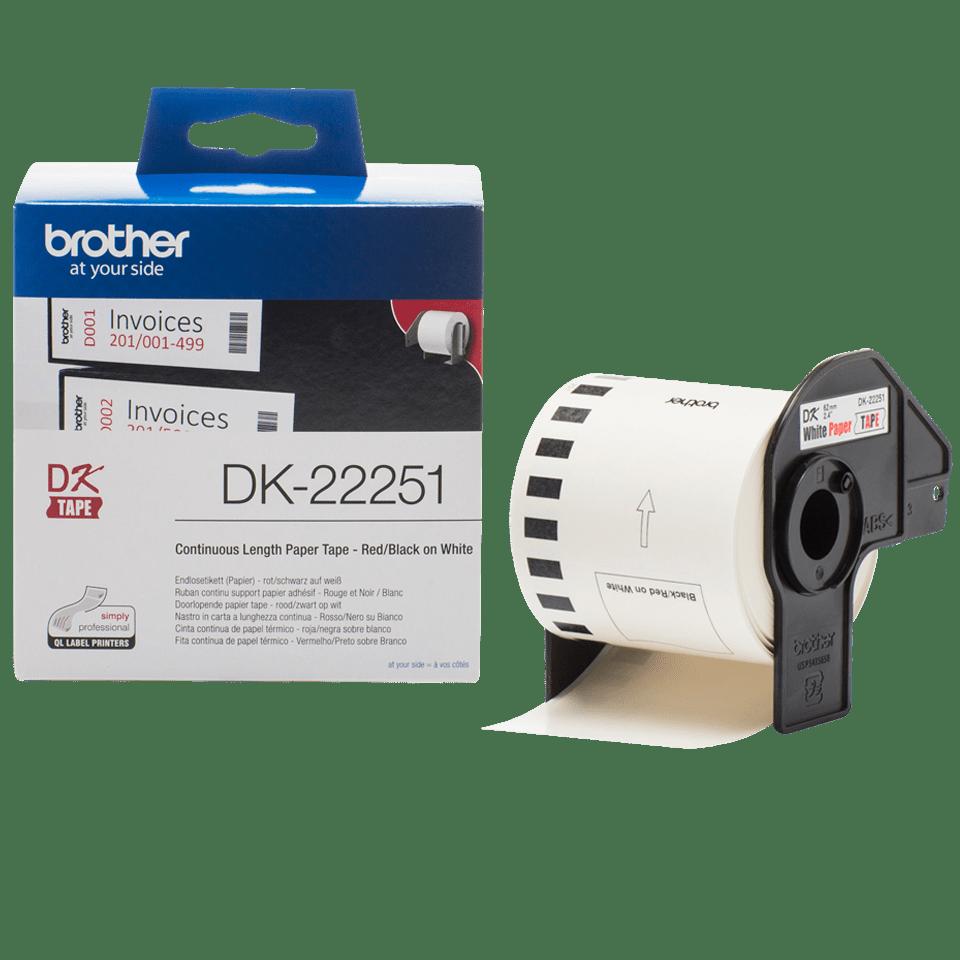 Oryginalna papierowa taśma ciągła DK-22251 firmy Brother. Nadruk w czerni i czerwieni na białym tle o szerokości 62mm. 3