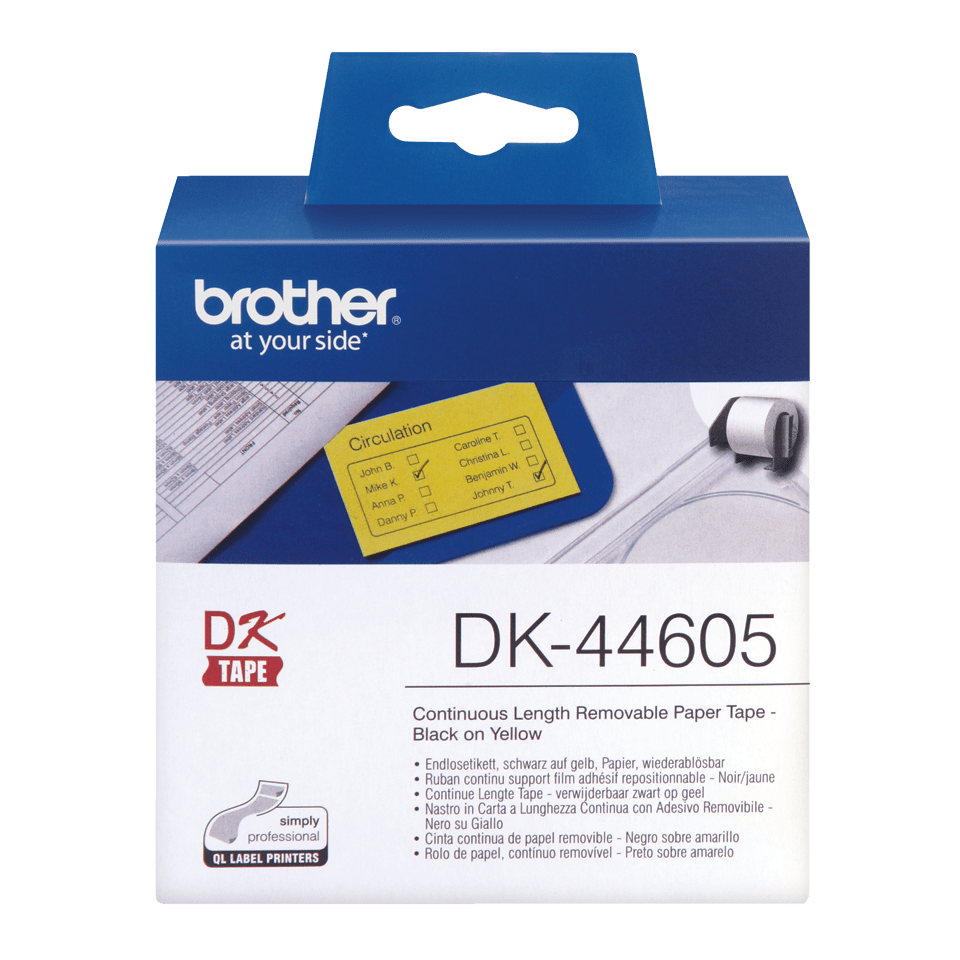 Oryginalne etykiety DK-44605 z taśmy ciągłejz usuwalnym klejem – czarny nadruk na żółtym tle, 62mm.
